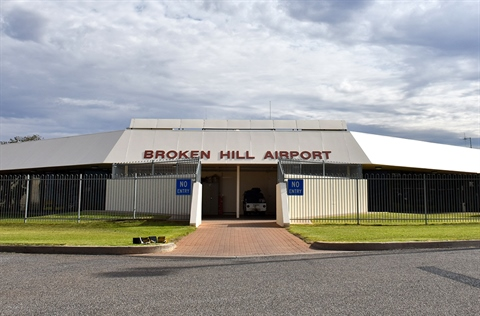 Broken Hill's airport as seen from the tarmac