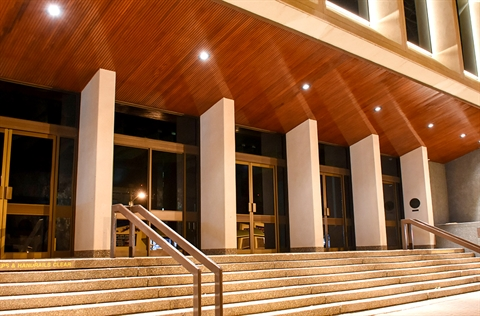 The entry to the Civic Centre at night time