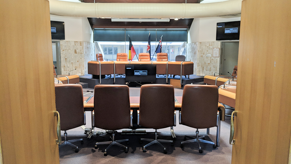 Inside the Council chambers