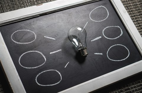 a Lightbulb on a blackboard with empty ideas waiting to be filled in