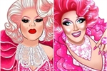 Cartoon impressions of two drag queens