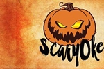A Halloween pumpkin above the word scaryoke