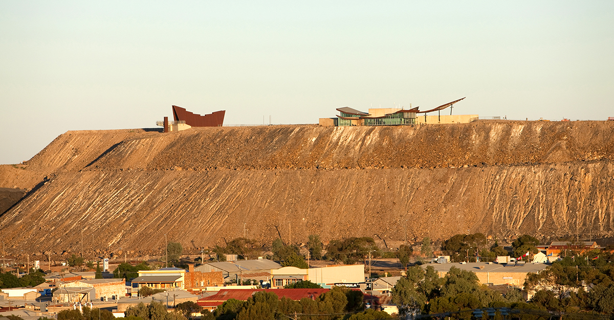 The Miners' Memorial and Broken Earth Cafe sit atop the line of lode in Broken Hill