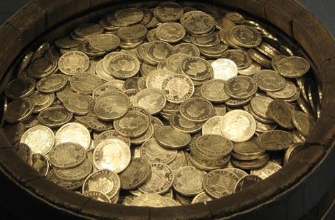 A barrel of gold coins
