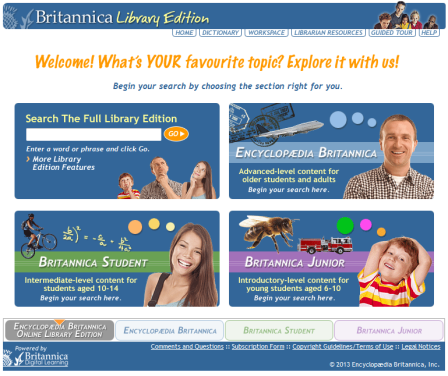 View of Britannica website