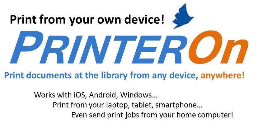 PrinterOn logo - Print documents at the library from any device, anywhere! Works with iOS, Android, smartphone and computer.