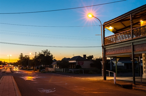 Oxide St in Broken Hill at dusk