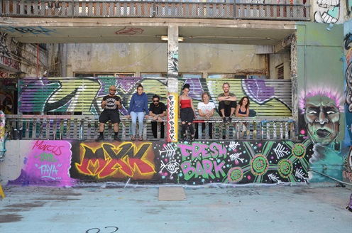 Photo of Taya, marcus, jade, Blake, Justine, Amy and James in Sydney in front of Freshbark mural painted during Freshbark on tour, 2018
